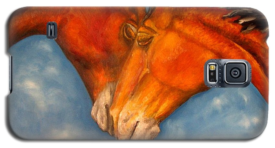 Horses Galaxy S5 Case featuring the painting Horses In Love.oil Painting by Natalja Picugina