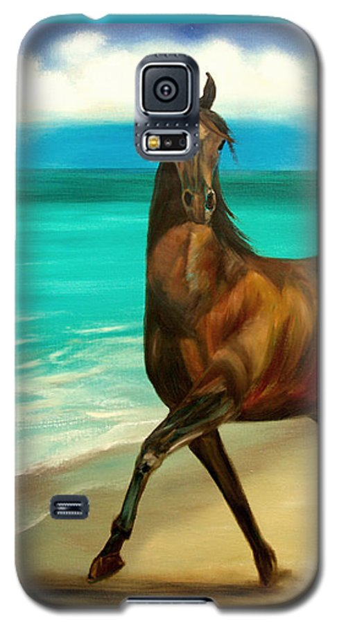 Horse Galaxy S5 Case featuring the painting Horses In Paradise Dance by Gina De Gorna