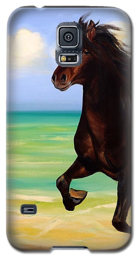 Horses Galaxy S5 Case featuring the painting Horses In Paradise Run by Gina De Gorna