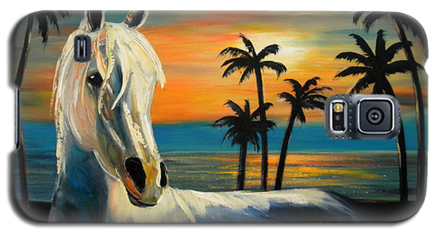 Horse Galaxy S5 Case featuring the painting Horses In Paradise Tell Me Your Dream by Gina De Gorna