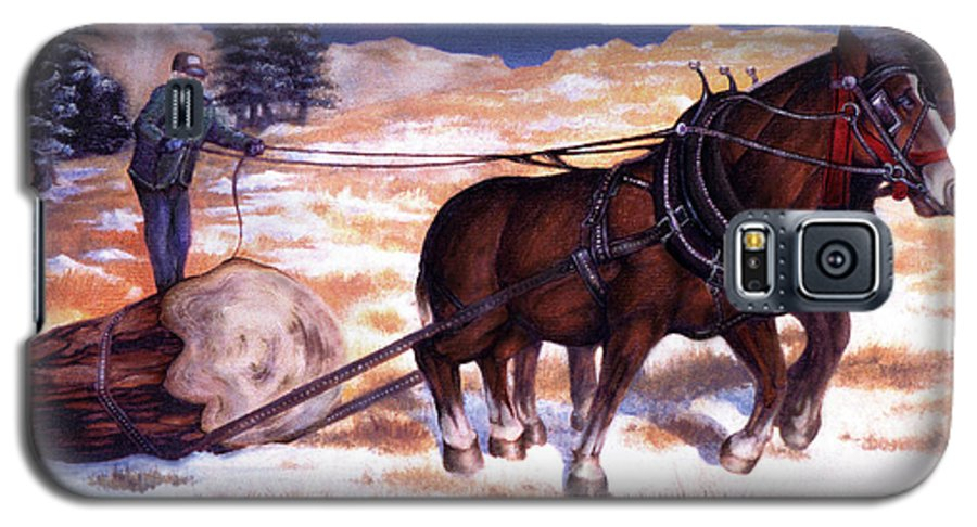Horse Galaxy S5 Case featuring the painting Horses Pulling Log by Curtiss Shaffer