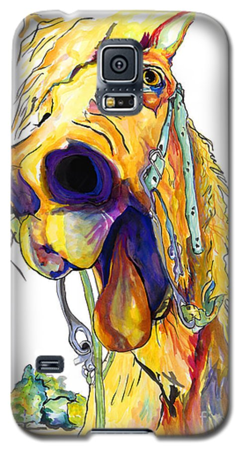 Animal Painting Galaxy S5 Case featuring the painting Horsing Around by Pat Saunders-White
