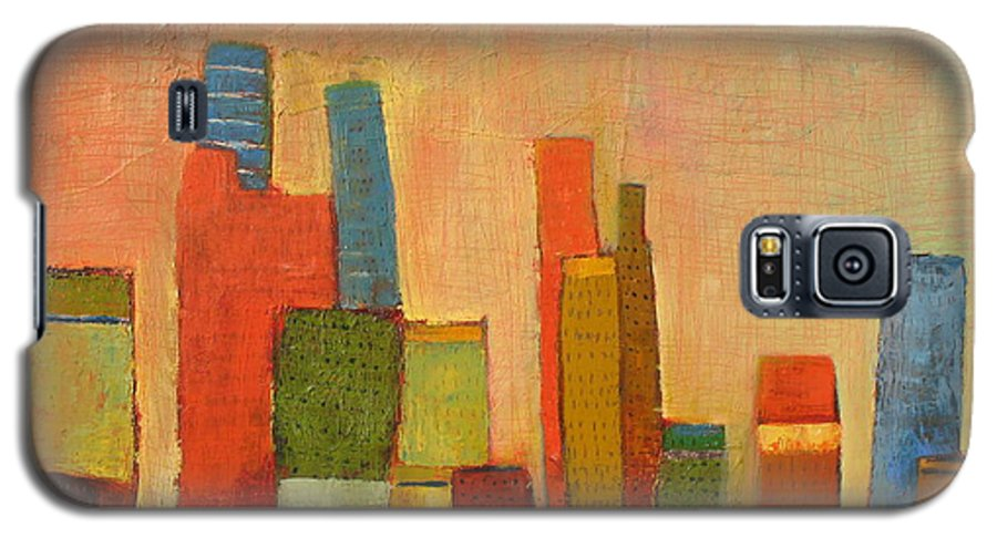Abstract Cityscape Galaxy S5 Case featuring the painting Hot Manhattan by Habib Ayat