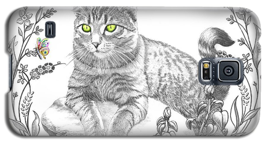 Cat Galaxy S5 Case featuring the drawing House Cat by Murphy Elliott