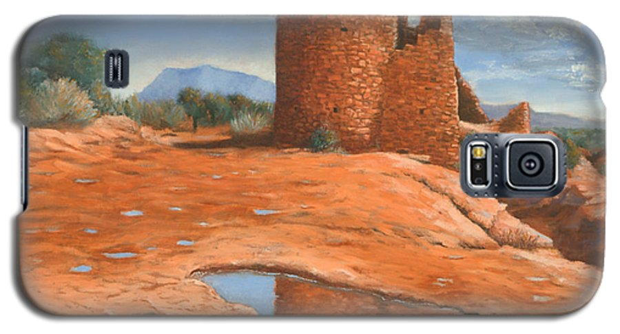 Anasazi Galaxy S5 Case featuring the painting Hovenweep Reflection by Jerry McElroy