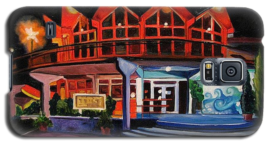 Asbury Art Galaxy S5 Case featuring the painting Howard Johnsons At Night by Patricia Arroyo