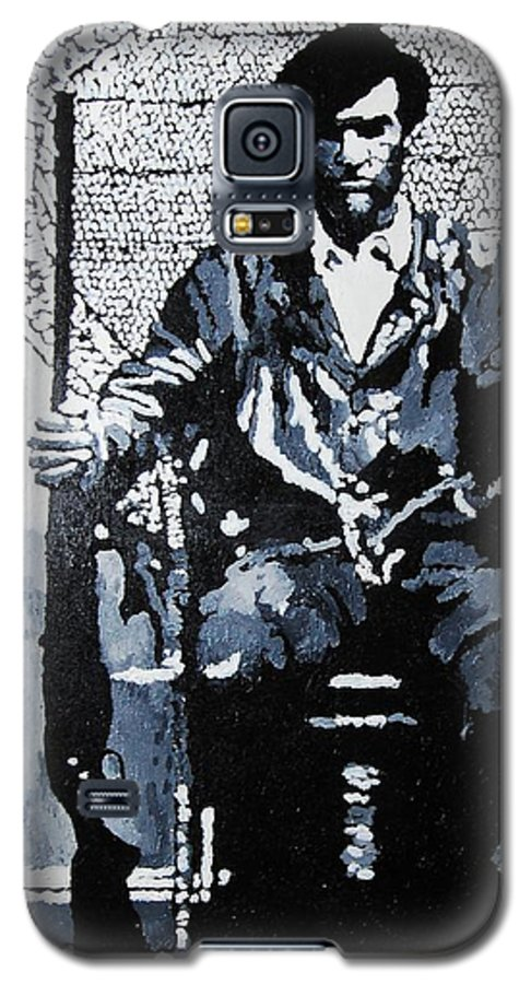 Black Panther Galaxy S5 Case featuring the painting Huey Newton Minister Of Defense Black Panther Party by Lauren Luna