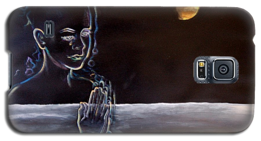 Moon Galaxy S5 Case featuring the painting Human Spirit Moonscape by Susan Moore