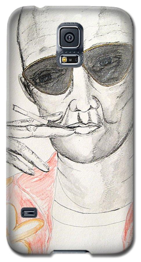 Hunter Thompson Gonzo Journalist Portrait Man Darkestartist Darkest Artist Galaxy S5 Case featuring the painting Hunter S. Thompson by Darkest Artist