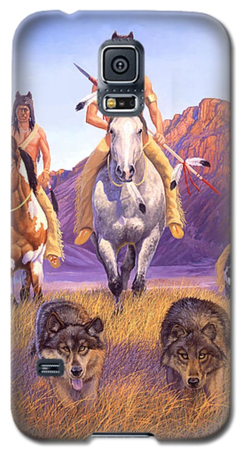 Indian Art Galaxy S5 Case featuring the painting Hunters Of The Full Moon by Howard Dubois