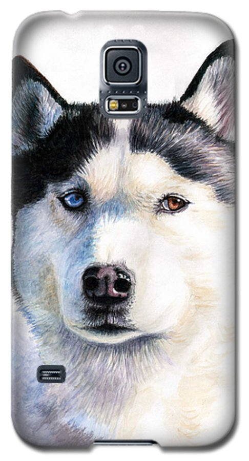 Dog Galaxy S5 Case featuring the painting Husky Blue by Nicole Zeug