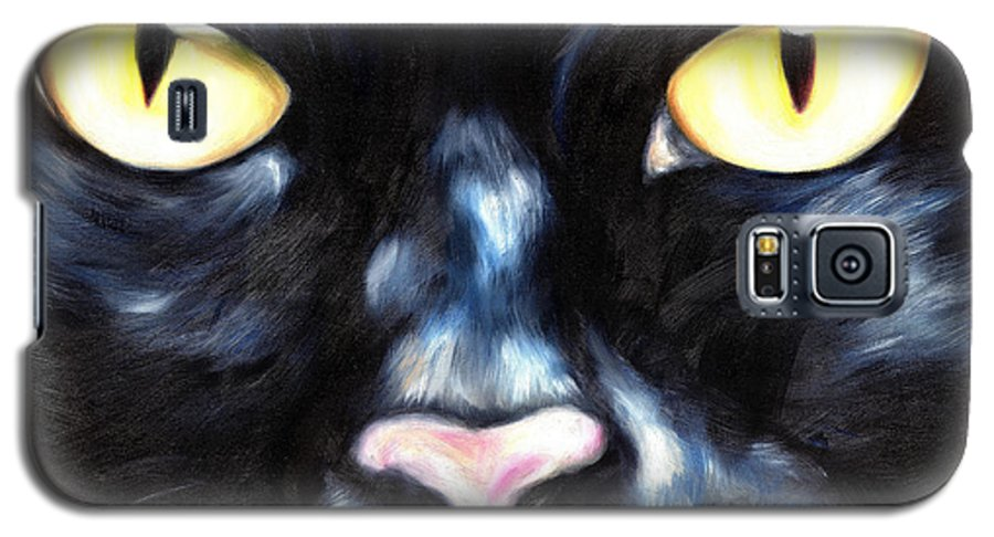 Black Cat Galaxy S5 Case featuring the painting I Am Night by Hiroko Sakai