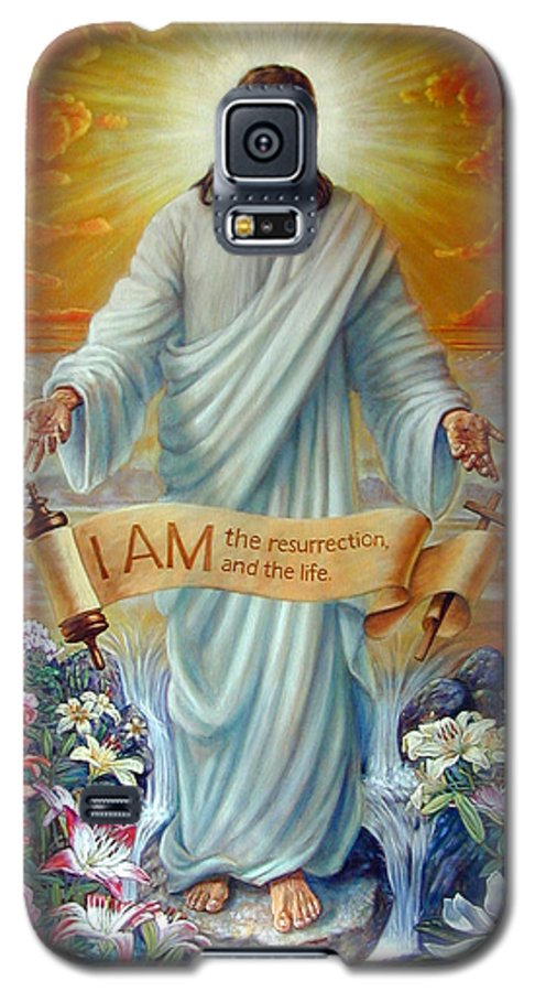 Jesus Christ Galaxy S5 Case featuring the painting I Am The Resurrection by John Lautermilch