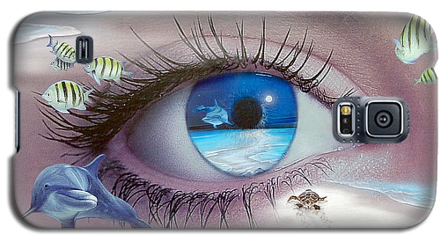 Dolphins Galaxy S5 Case featuring the photograph I Witness Testigo by Angel Ortiz