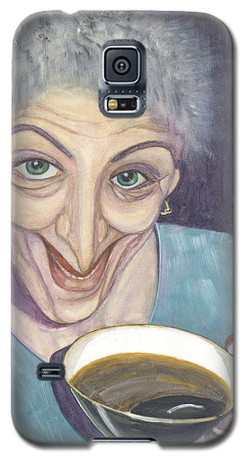 Portrait Galaxy S5 Case featuring the painting I Would Like To Try This One by Olga Alexeeva