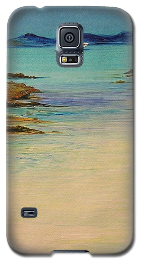 Seascape Original Painting Galaxy S5 Case featuring the painting Ibiza In The Distance.... by Lizzy Forrester