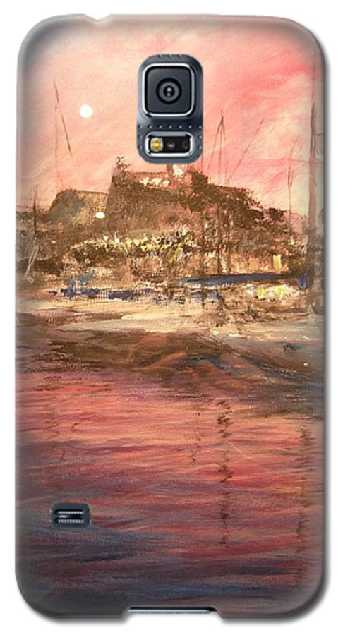 Yachts Galaxy S5 Case featuring the painting Ibiza Old Town At Sunset by Lizzy Forrester
