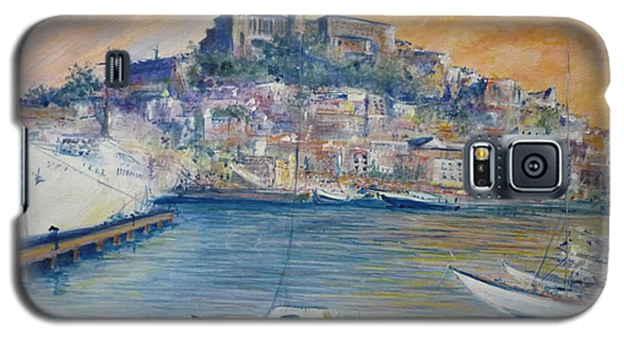 Marina Galaxy S5 Case featuring the painting Ibiza Old Town Marina And Port by Lizzy Forrester