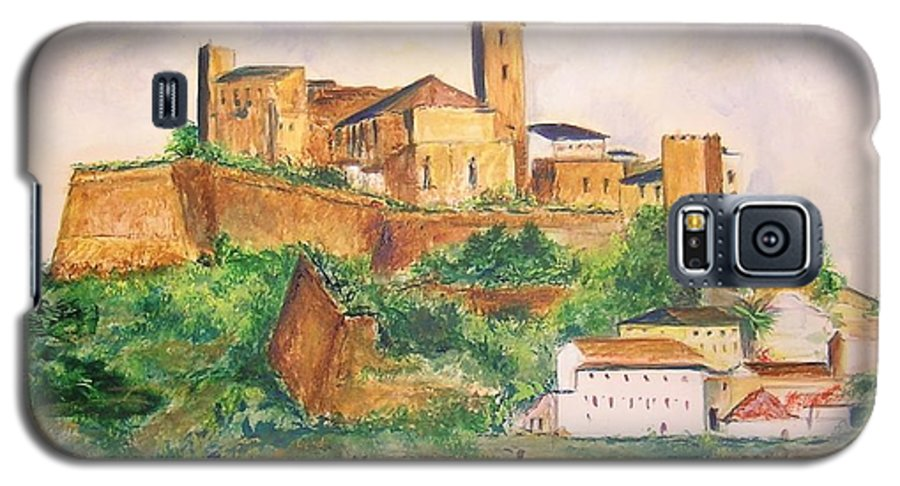 Landscape Galaxy S5 Case featuring the painting Ibiza Old Town Unesco Site by Lizzy Forrester