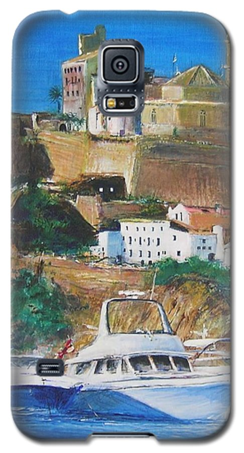 Original Landscape Painting Galaxy S5 Case featuring the painting Ibiza Town by Lizzy Forrester