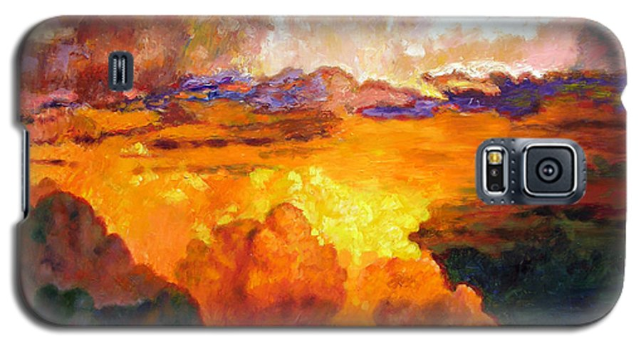 Clouds Galaxy S5 Case featuring the painting Ill Fly Away O Glory by John Lautermilch