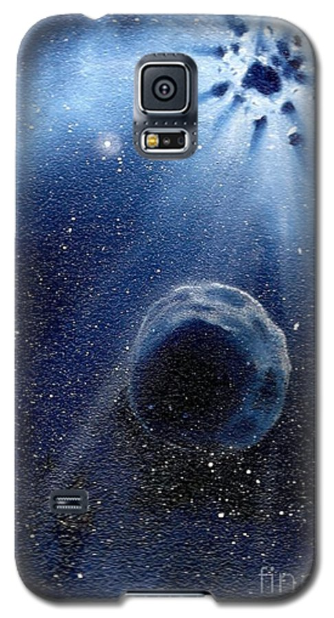 Outerspace Galaxy S5 Case featuring the painting Impressive Impact by Murphy Elliott