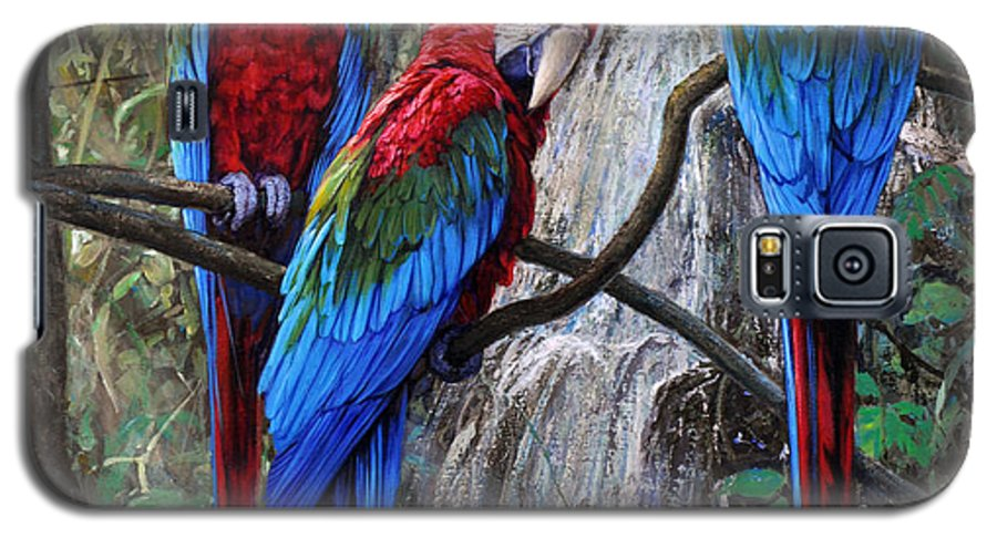 Macaws Galaxy S5 Case featuring the painting In Front Of The Cascade by Gabriel Hermida