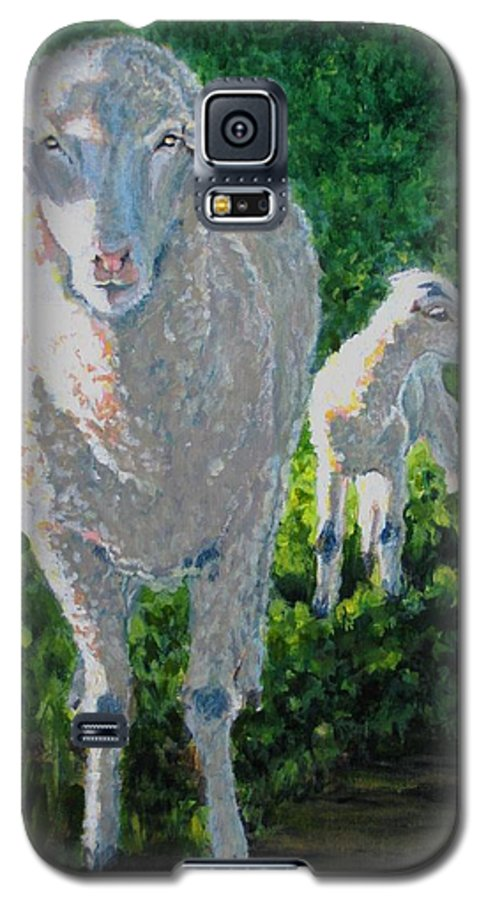 Sheep Galaxy S5 Case featuring the painting In Sheep's Clothing by Karen Ilari