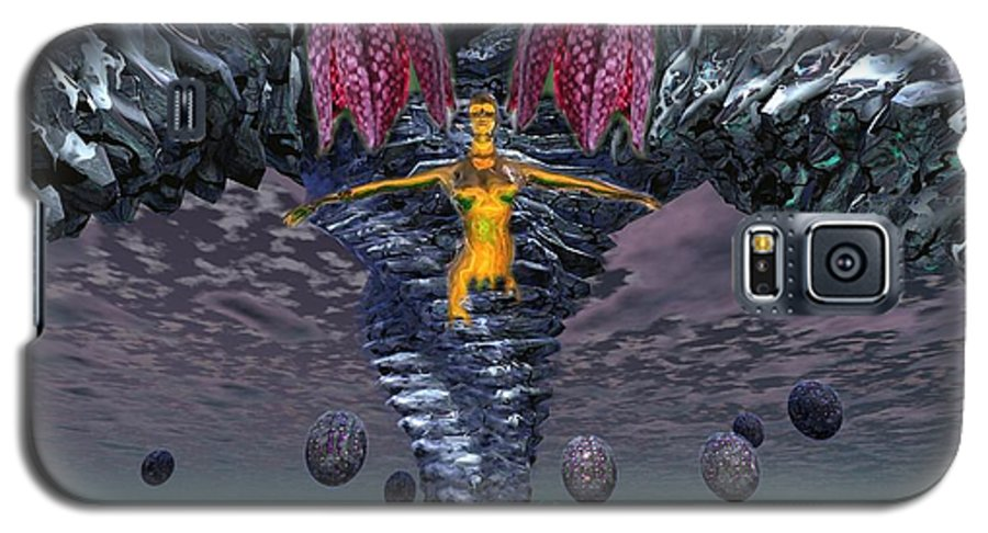 3d Computer Nude Woman Gold Fantasty Galaxy S5 Case featuring the digital art Incoming by Dave Martsolf