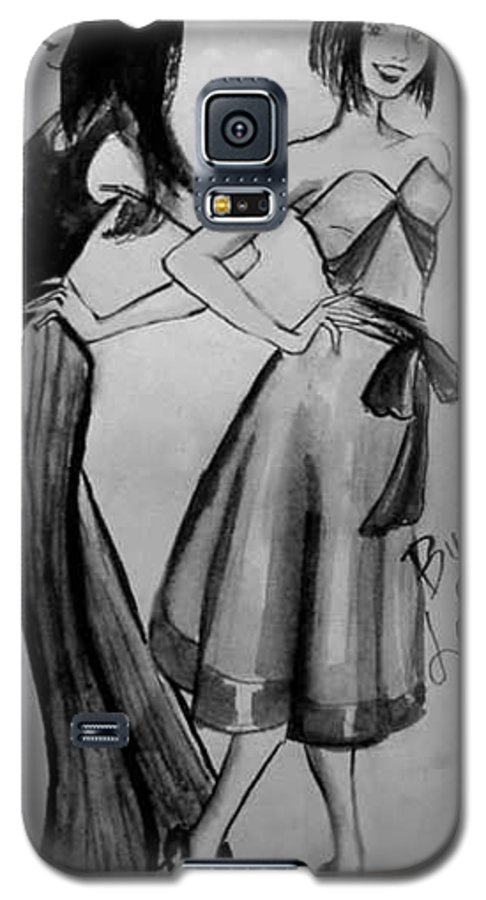 Fashion Galaxy S5 Case featuring the drawing Ink Ladies by Laura Rispoli