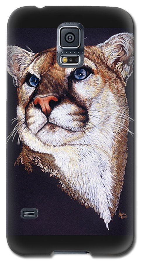 Cougar Galaxy S5 Case featuring the drawing Intense by Barbara Keith