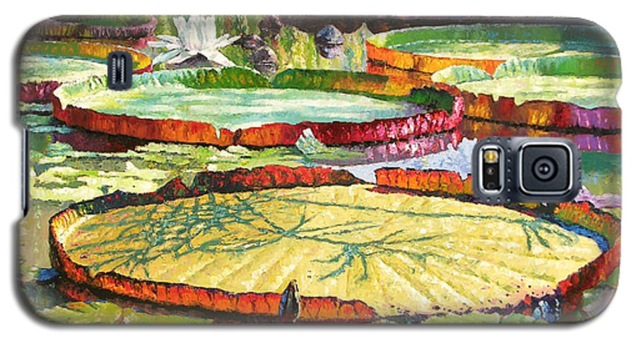 Garden Pond Galaxy S5 Case featuring the painting Interwoven Beauty by John Lautermilch