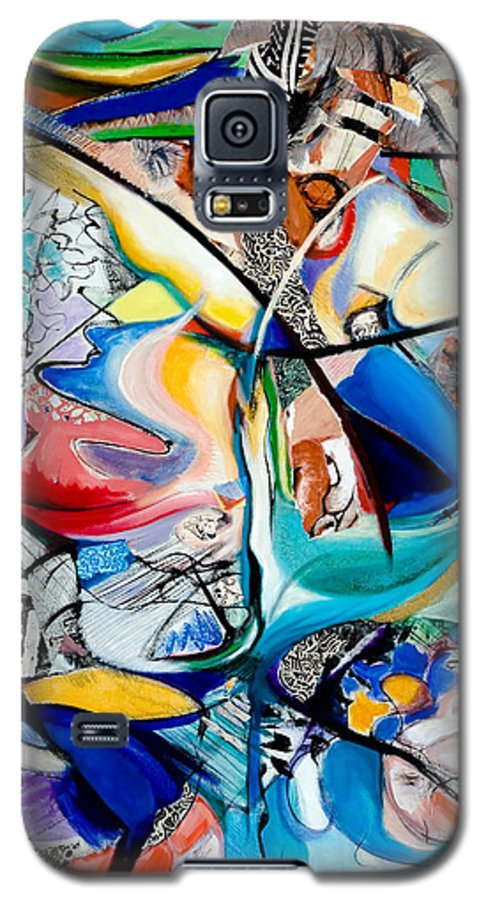 Abstract Galaxy S5 Case featuring the painting Intimate Glimpses - Journey Of Life by Kerryn Madsen-Pietsch