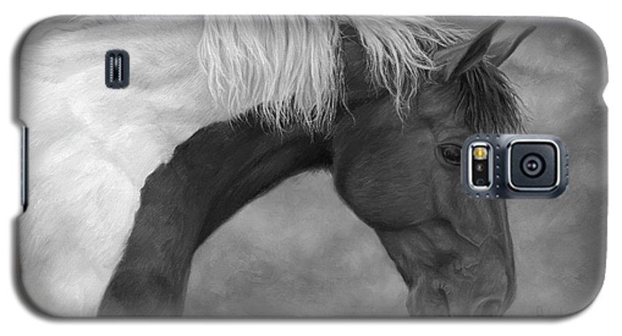 Horse Galaxy S5 Case featuring the painting Intrigued - Black And White by Lucie Bilodeau