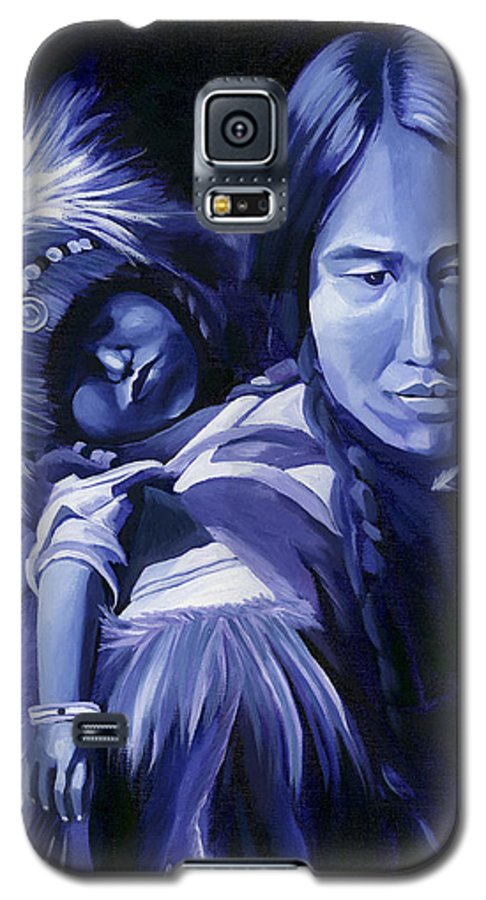 Native American Galaxy S5 Case featuring the painting Inuit Mother And Child by Nancy Griswold