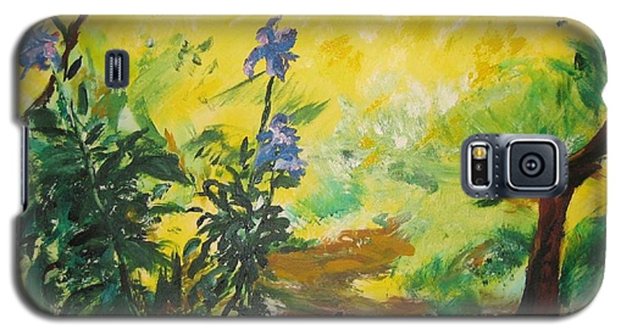 Sunlight Galaxy S5 Case featuring the painting Irises And Sunlight by Lizzy Forrester