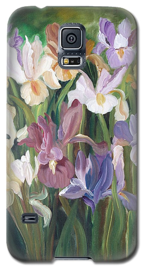 Irises Galaxy S5 Case featuring the painting Irises by Gina De Gorna