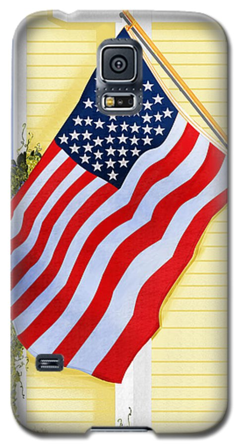 U.s. Flag Galaxy S5 Case featuring the painting It Will Fly Until They All Come Home by Anne Norskog
