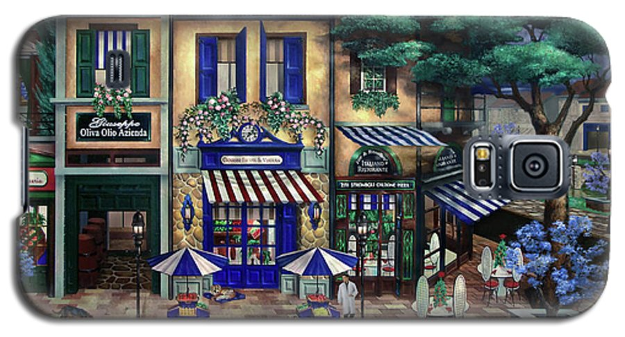 Italian Galaxy S5 Case featuring the mixed media Italian Cafe by Curtiss Shaffer