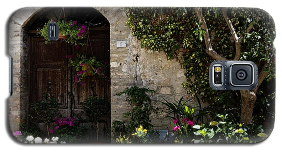 Flower Galaxy S5 Case featuring the photograph Italian Front Door Adorned With Flowers by Marilyn Hunt