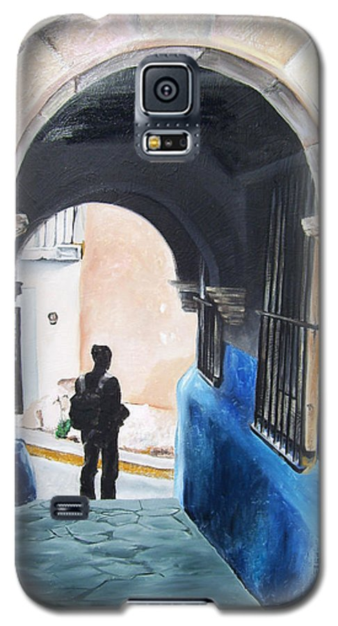 Archway Galaxy S5 Case featuring the painting Ivan In The Street by Laura Pierre-Louis