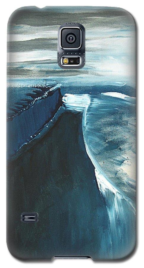Abstract Acrylic Artist Blue Darkest Darkestartist January Painting Water Ice Galaxy S5 Case featuring the painting January by Darkest Artist