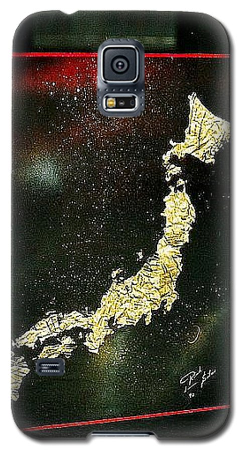 Map Galaxy S5 Case featuring the painting Japan by Rick Silas