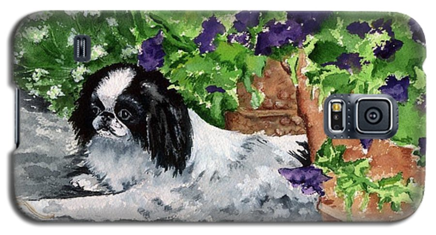 Japanese Chin Galaxy S5 Case featuring the painting Japanese Chin Puppy And Petunias by Kathleen Sepulveda