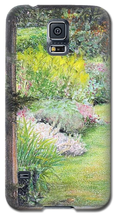 Landscape Galaxy S5 Case featuring the drawing Jardin by Muriel Dolemieux