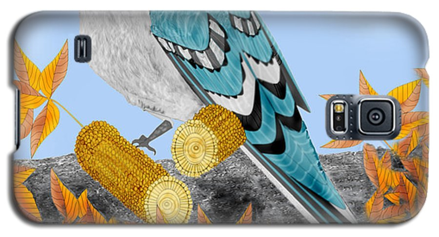 Jay Bird Galaxy S5 Case featuring the painting Jay With Corn And Leaves by Anne Norskog