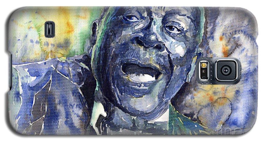 Jazz Galaxy S5 Case featuring the painting Jazz B.b.king 04 Blue by Yuriy Shevchuk