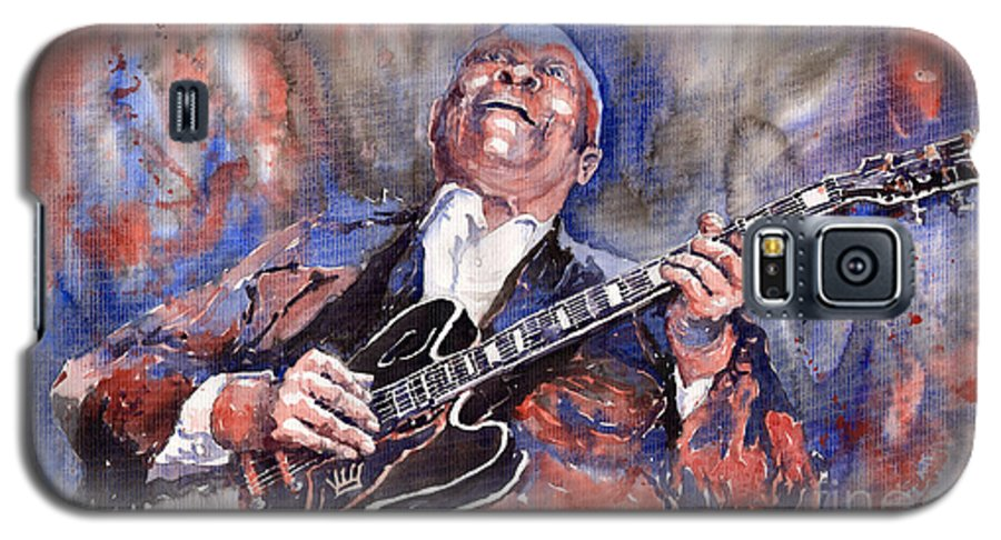 Jazz Galaxy S5 Case featuring the painting Jazz B B King 05 Red A by Yuriy Shevchuk