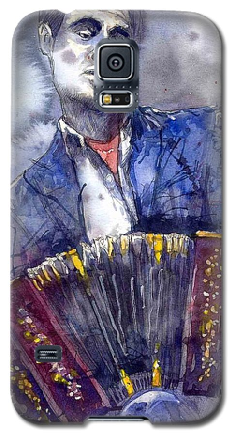 Jazz Galaxy S5 Case featuring the painting Jazz Concertina Player by Yuriy Shevchuk