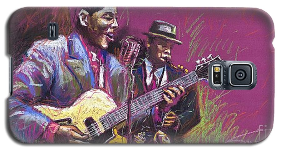Jazz Galaxy S5 Case featuring the painting Jazz Guitarist Duet by Yuriy Shevchuk